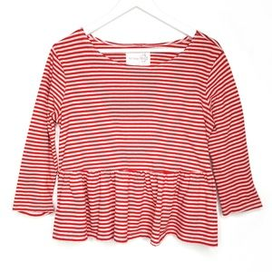 Free People red striped peplum top, size Small